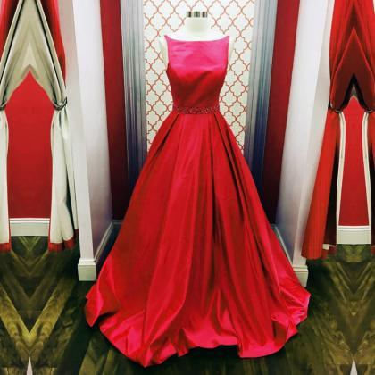 red ball gowns,scoop neck prom dres..