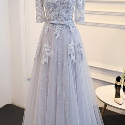 The mother of grey lace wedding dre..