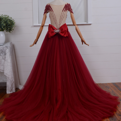 Red Sheer Beaded Ruched Ball Gown P..