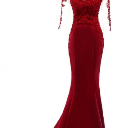 Red Sheer Lace Appliqués Mermaid S..