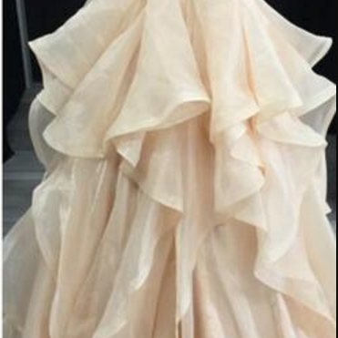 Organza Tiered Prom Dress with Bead..