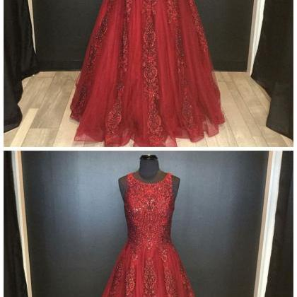 A-Line Round Neck Floor-Length Red ..