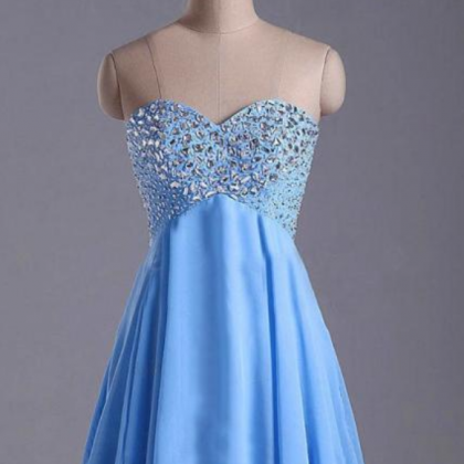 Blue Homecoming Dress,Short Prom D..