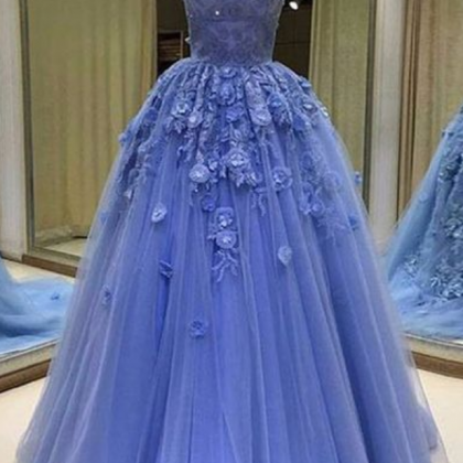 Blue tulle sweetheart prom dresses,..