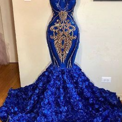 Royal Blue Halter Mermaid Prom Dres..