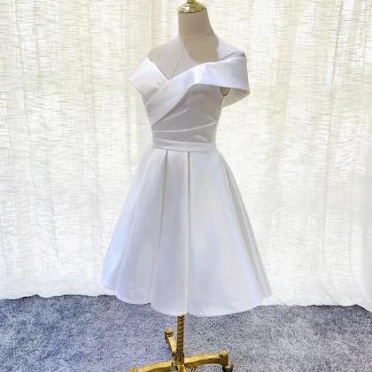 White Simple Satin Off Shoulder Kne..