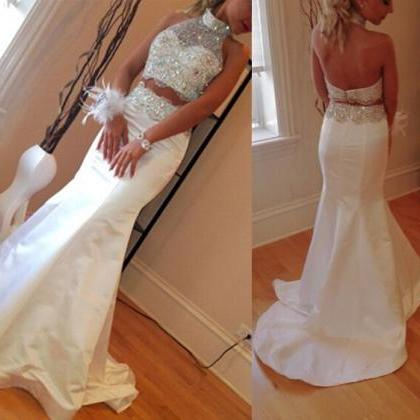 Newest Two Pieces White Long Satin ..
