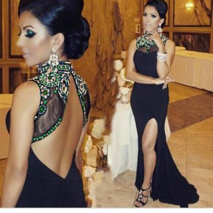 Sexy Black Evening Dress With Sweep..