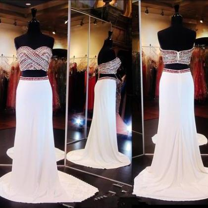 White 2 Piece Prom Gown,Two Piece P..