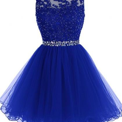 Royal Blue Prom Dress, Short Beaded..