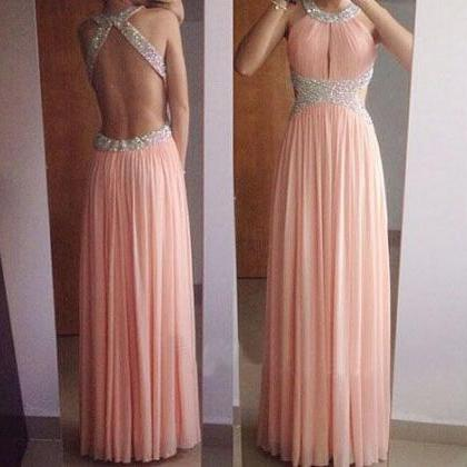 Backless Prom Dresses, Blush Pink P..