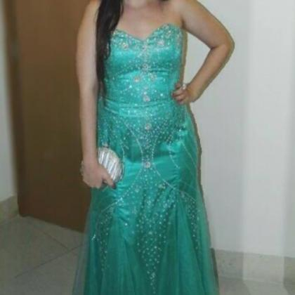 Green Prom Gown,Sexy Prom Dresses,E..