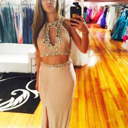 long prom dress,elegant 2 pieces lo..