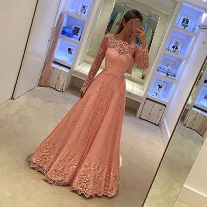 Long Sleeve Prom Dress,Lace Prom Dr..
