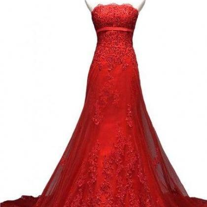 Red Lace Prom Dress,Applique Prom D..