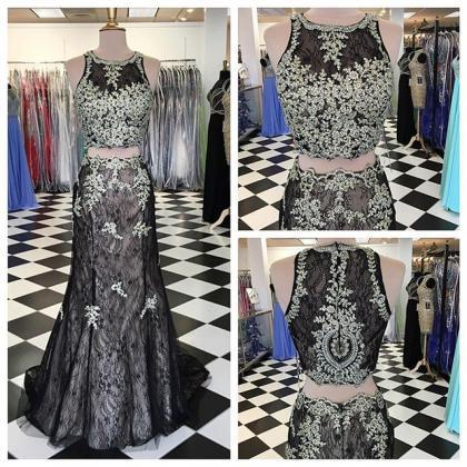 Black Mermaid Prom Dresses,Lace Pro..