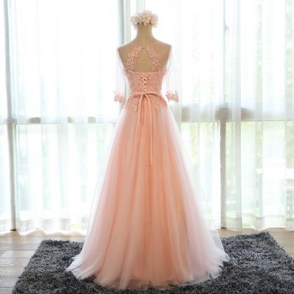 pink bridesmaid dress,chiffon eveni..