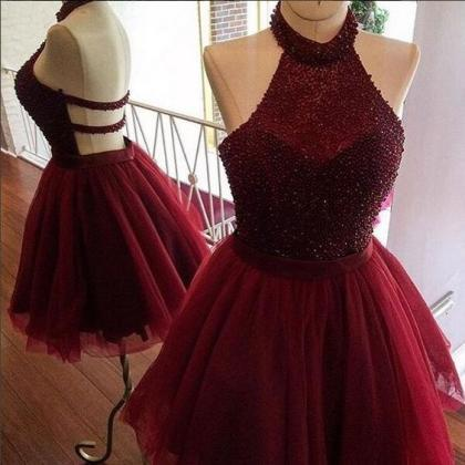 Sexy Red Short Prom Dress,Red Homec..