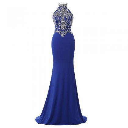 Pretty Crystal Tulle High Neck Prom..