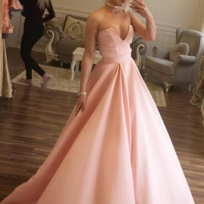 Simple Cheap Prom Dress,Pink Satin Prom/Evening Dress, Ball Gown Prom Dress,Elegant Long Prom Dresses