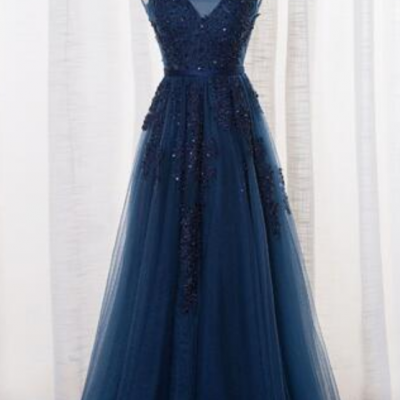 New Navy Blue Evening Dresses Vestido De Festa V Neck Cap Sleeve Vintage Lace Appliques Beaded Prom Dresses
