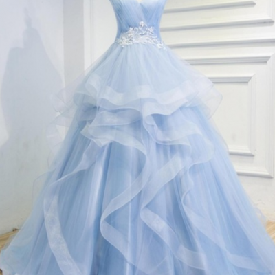 A blue sky evening dress marriage the women Beaded the hairdressing gown ball gown