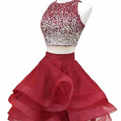 Sparkly Two Piece Red Homecoming Dresses Sequins Beaded Tulle Puffy Skirt Custom Made Short Graduation Dresses Zipper