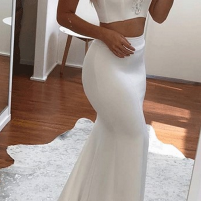 Sweetheart Two Piece Mermaid Prom Dress,Applique White Evening Dress,evening gowns,Prom Dresses,Appliques Lace Long Dress