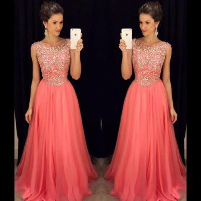 Coral red prom dress