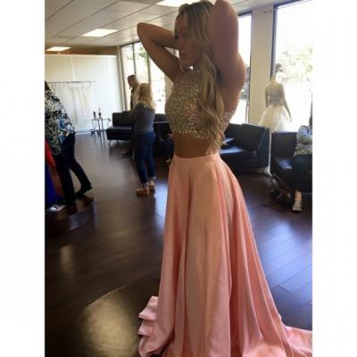 Sparkle Pink Two Piece Prom Dress, Beading Prom Dress, Two-piece Prom Dresses, Prom Gowns, Pink Prom Dress, Prom Dress for Teens, Senior Prom Dresses