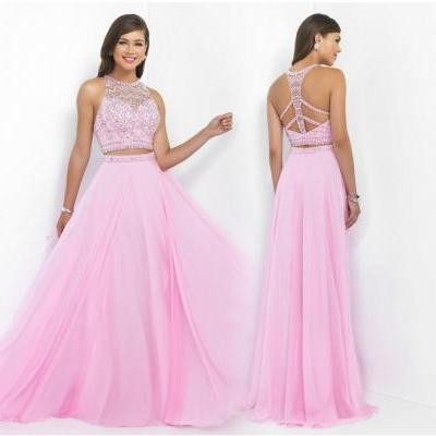 New Popular 2 piece Prom Dresses, Pink Two Pieces Prom Dress, O Neck Prom Dresses, Sleeveless Prom Dresses, Criss-cross Back Prom Dresses, A Line Prom Dress, Beaded Sequins Prom Dress, Chiffon Prom Dress On Sale, Graduation Dresses, Prom Dress for Teens