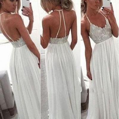 White Chiffon Sequin Long Prom Dress for Teens, Backless Long Prom Dress 2016