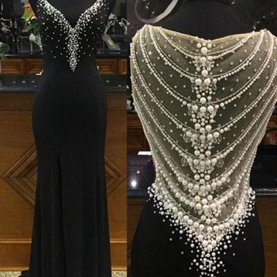 Black V-neck Full Back Sleeveless Mermaid Long Chiffon Prom Dress With White Pearls