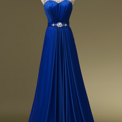 royal blue Long Chiffon Floral Beadings Scoop A Line Evening Gown Prom Party Dresses