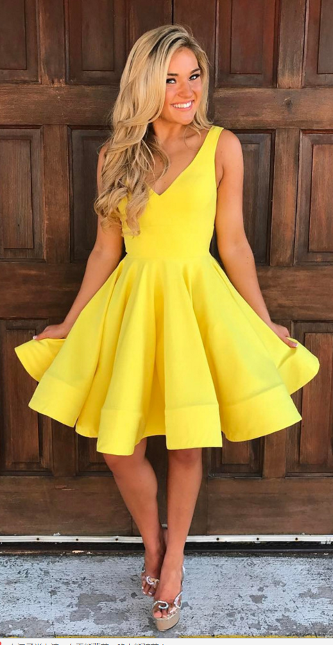 Short Ball Gowns Dress, V Neck Homecoming Dress,yellow Prom Dress ...