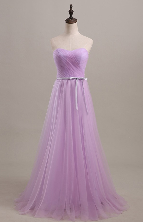 Lilac Strapless Long Evening Dress Formal Occasion Dress