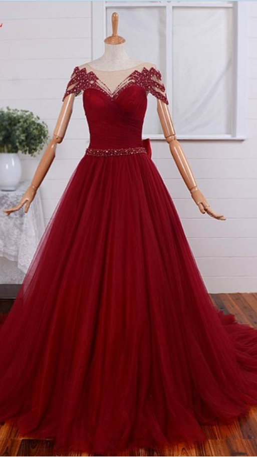 Red Sheer Beaded Ruched Ball Gown Prom Dress, Evening Dress with Cap Sleeves and Sheer Back