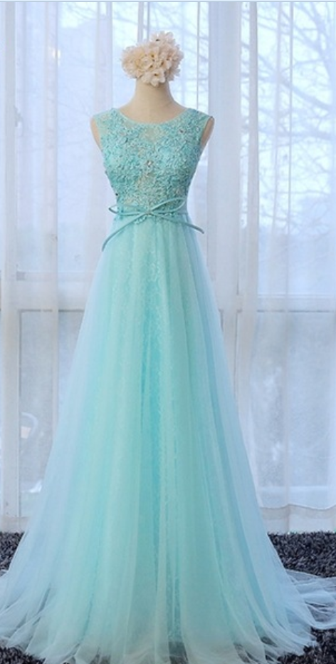 Sleeveless Lace Appliqués A-line Tulle Long Prom Dress, Evening Dress