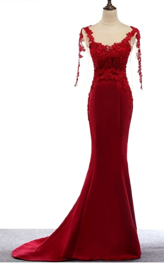 Red Sheer Lace Appliqués Mermaid Satin Long Prom Dress, Evening Dress with Long Sleeves