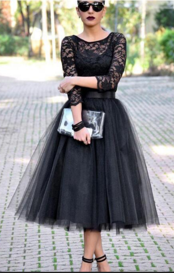 Beautiful black ball gown with lace, short skirt, cocktail dress, mini cocktail