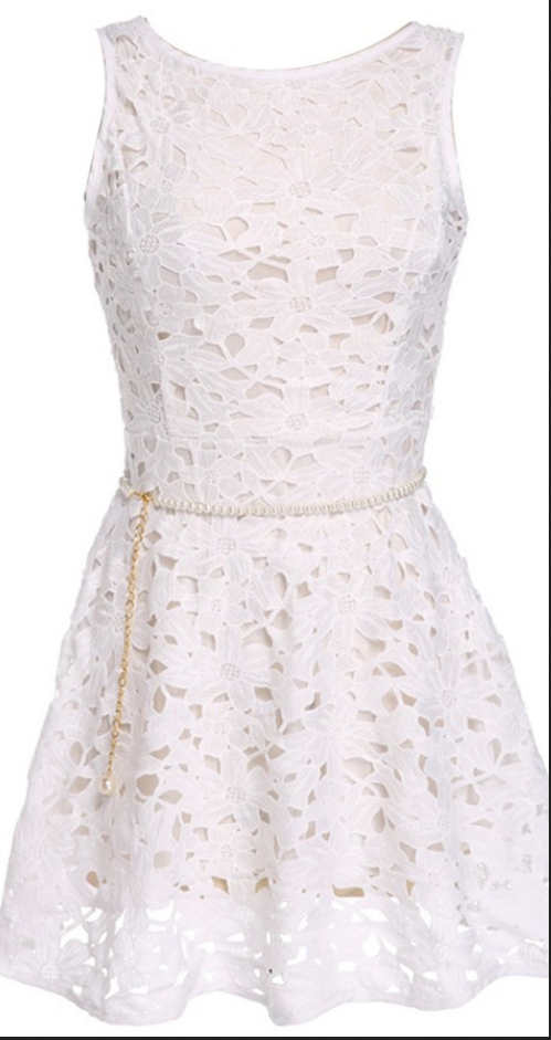 Lace Homecoming Dresses,Short Sleeveless Homecoming Dresses,Simple Scoop White Homecoming Dress with Belt