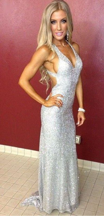 2f7415adea7 Sexy Deep V Neck Silver Sequined Formal Evening Dresses Plus Size Open Back  Sweep Train Prom