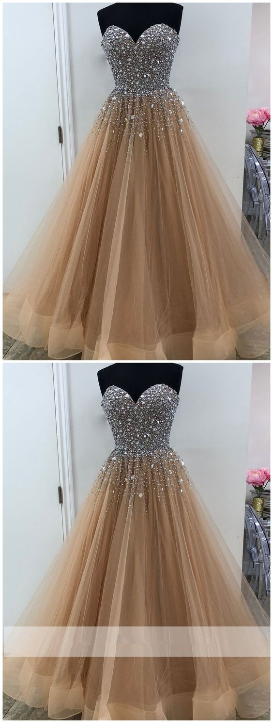 Sweetheart A line Beaded Tulle Long Custom Evening Prom Dresses
