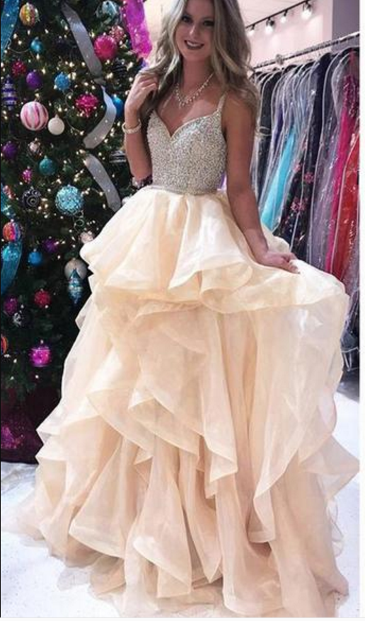 Organza Tiered Prom Dress with Beaded Bodice