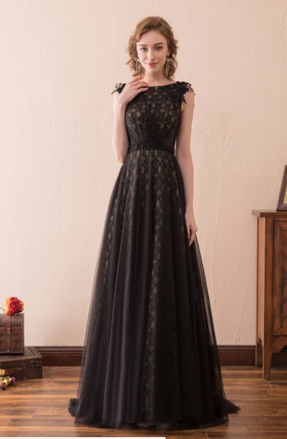 Black Evening Dresses A-line Tulle Lace Pearls Formal Women Plus ...