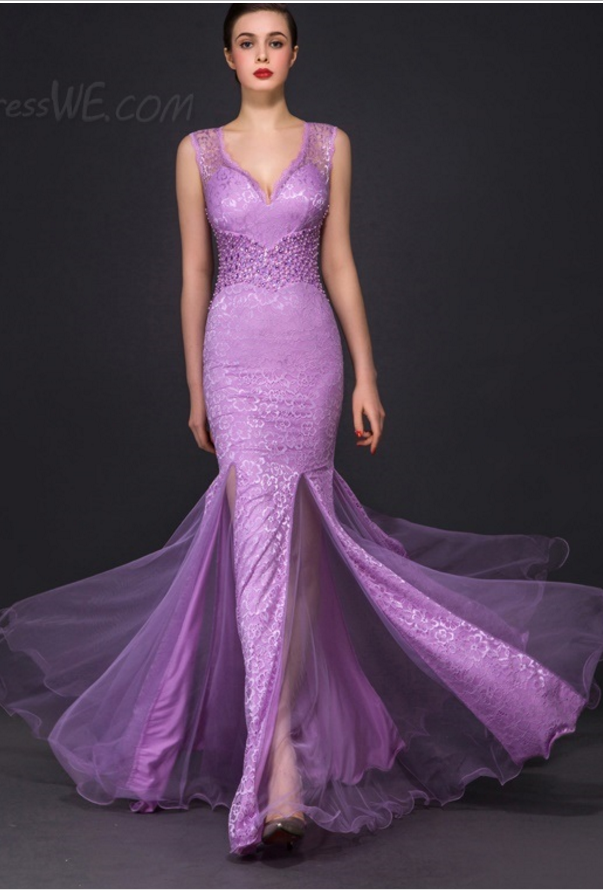 Unique Design Straps Mermaid Lace Evening Dress