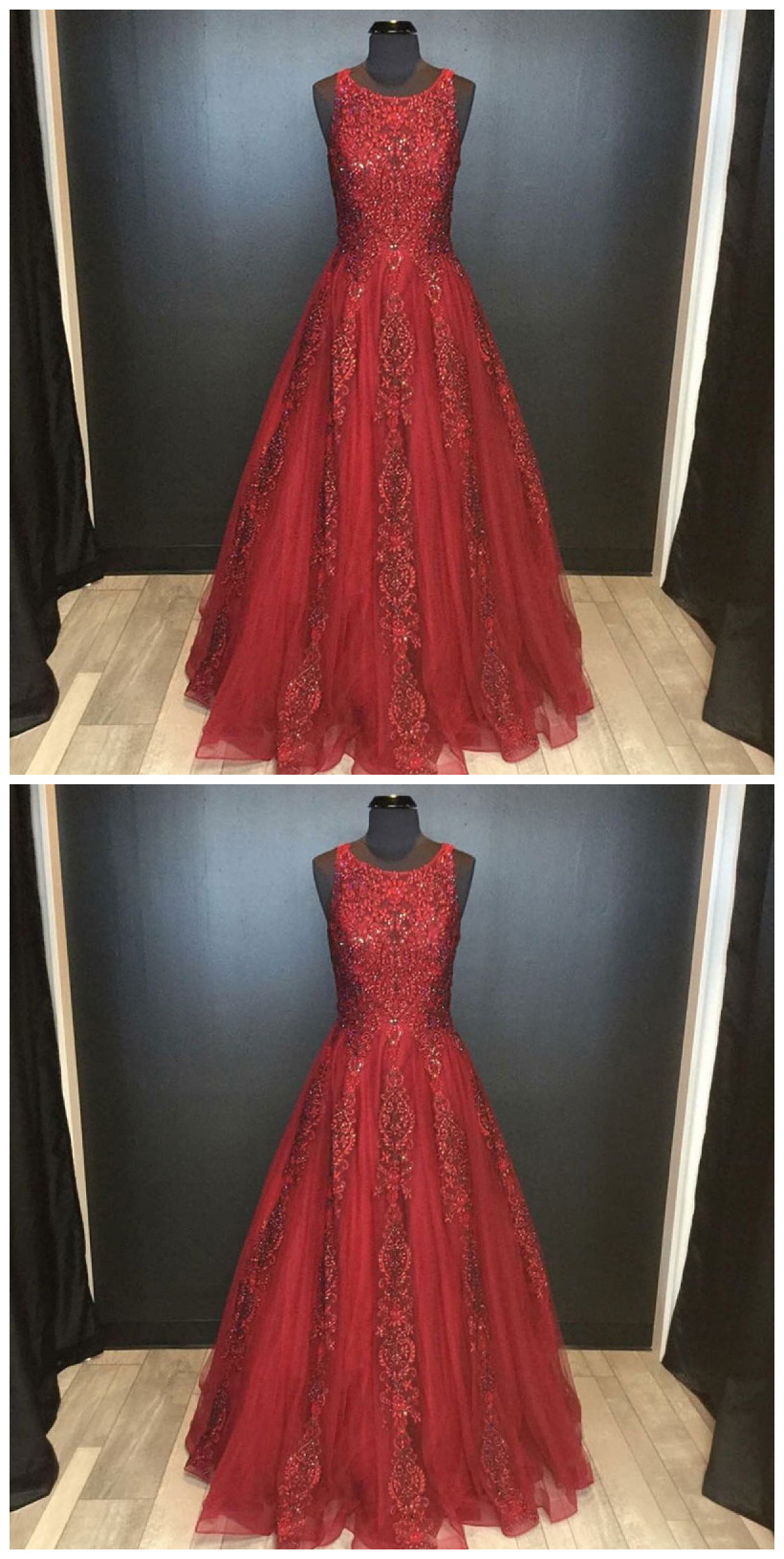 A-Line Round Neck Floor-Length Red Beaded Prom Dress with Lace