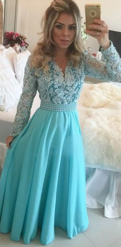 d1fae54392 Long Blue Prom Dresses Modest Long Sleeve V Neck Pearls Lace Chiffon A Line  Floor Length