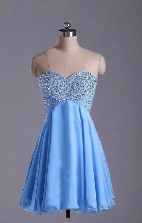Blue Homecoming Dress,Short Prom Dresses,Homecoming Gowns,Fitted Party Dress,Silver Beading Prom Dresses,Sparkly Cocktail Dress,backless Homecoming Gown,