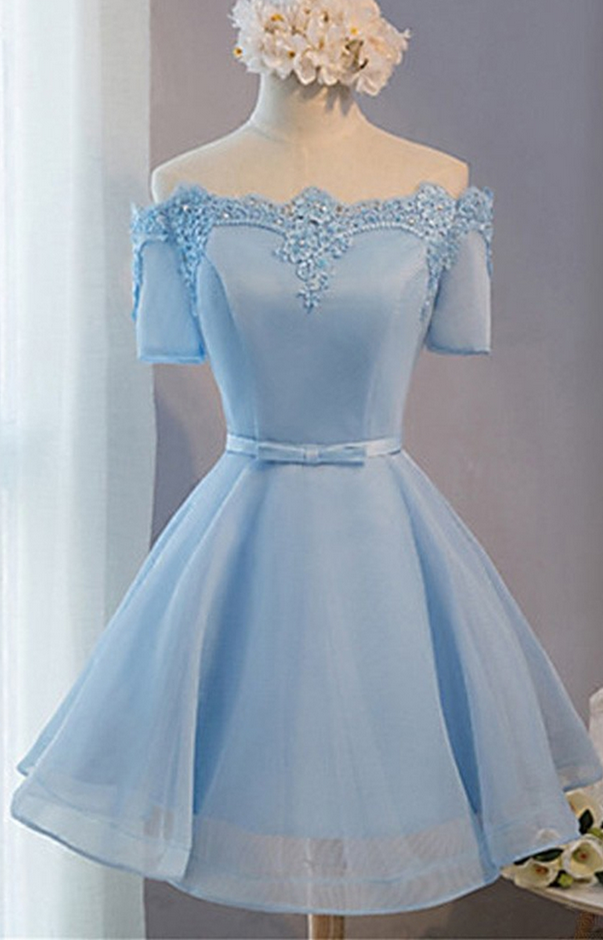 Short Prom Dresses, Baby Blue Prom Dresses, Lace Prom Dresses, Short Sleeves Prom Dresses, Short Prom Dress, Real Samples Prom Dresses,